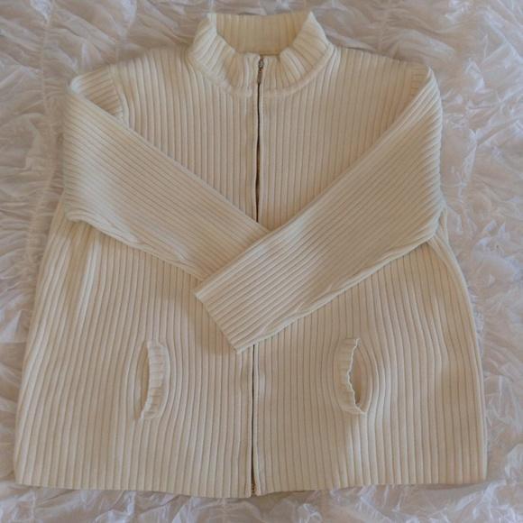 White Knit Cardigan W/ Zipper